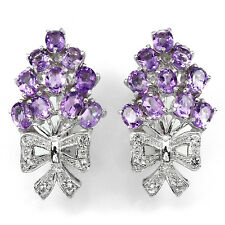 Silver 925 Genuine Natural Rich Purple Oval Amethyst Bow Design Earrings