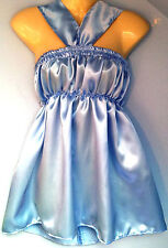 B Blue satin dress adult baby fancy dress sissy french maid cosplay fits 36-46