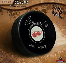 """CHRIS OSGOOD Signed Detroit Red Wings Puck Inscribed """"401 Wins"""""""