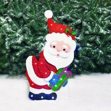 "28""LED Glittering Metal Santa with Present Outdoor Christmas Decor Yard Art"