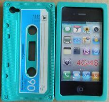 Coque housse étui cassette K7 rétro iPhone 4 4S Verte