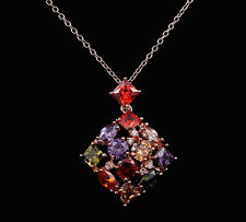 14k Gold GF Rhombus Pendant Necklace made w/ Swarovski Multicolor Crystal Stone