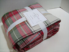 Pottery Barn Red Green Multi Colors Cambridge Plaid King Duvet Cover 2 Shams New