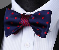 BE04R Blue Red Polka Dot Bowtie Men Cotton Party Classic Wedding Self Bow Tie