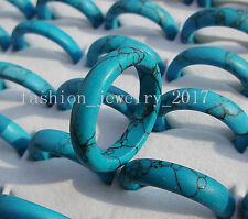 FREE wholesale Lot fashion jewelry 30ps natural sky blue turquoise gemstone ring