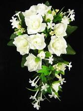 Boda Artificial Flor Crema Rose Stephanotis Berry Tailed Bridal Bouquet