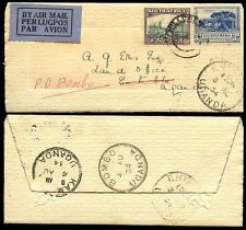 SOUTH AFRICA to UGANDA 1934 BOMBO...WEDDING LETTERCARD CLARKE WALSH...HILLCREST