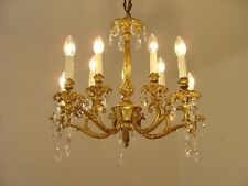 FINE 10 LIGHT BRASS FRENCH CHANDELIER CRYSTAL GLASS VINTAGE OLD LAMP ANCIENT