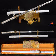 FULL TANG Japanese Samurai Sword 1095Clay Tempered Ninja REAL HAMON Battle Ready