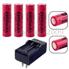 4 PCS 18650 3.7V 9900mAh Rechargeable Li-ion Torch Flashlight Battery + Charger
