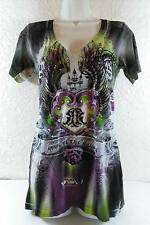 Remetee City of Angels V-Neck  Womens Tee Rhinestones T-Shirt Size Medium B254