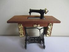 Vintage Chadwick Dollhouse Miniature Wood & Metal Sewing Machine Table