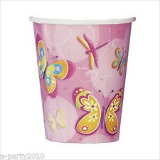 BUTTERFLY and DRAGONFLY 9oz PAPER CUPS (8) ~  Birthday Party Supplies Drinking