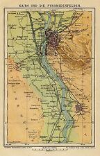 1902= CAIRO e piramidi = Egitto =  ANTICA MAPPA = Old Map