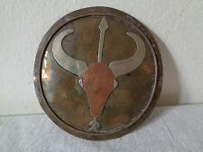 VINTAGE WESTERN SOUTHWEST BRASS WITH SILVER HORNED STEER ROUND BELT BUCKLE