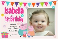 Personalised party invitations or Thank You Cards  PEPPA PIG x 5 photo ANY AGE