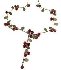 Vintage Sweet Cherry Leaves Cluster Red Beads Long Necklace Sweater Chain Pendan