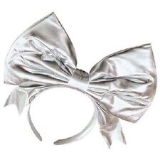 1980's Madonna Lady Gaga Silver Metallic Bow Headband 80's Fancy Dress