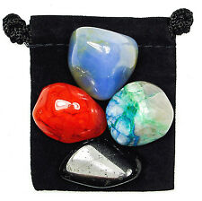 NEGATIVE THOUGHTS Tumbled Crystal Healing Set = 4 Stones + Pouch + Card