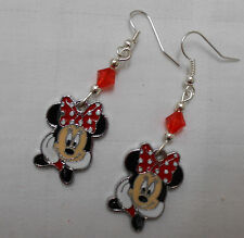 Hand made silver plated drop dangle girly earrings Disney Minnie Mouse red