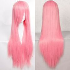 Long Cosplay Wig Pink Synthetic Anime Costume Full Head Wigs With Bangs Straight