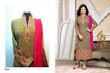 Stitched Pakistani Kurta Kameez Cigarette Pants Indian Suit Embroidered Chiffon