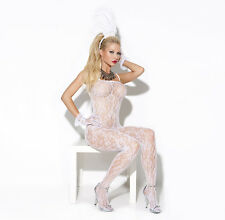 NEW Lace Bodystocking White all in one sexy underwear Bridal EM-8596 one size