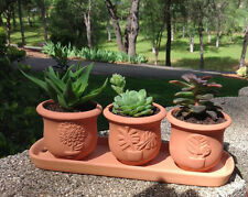 Terracotta clay set of 3 small U shape pots with tray GW-TS106