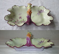 Antique JPL Jean Pouyat Limoges Ruffled Candy Dish, Handpainted Purple Violets