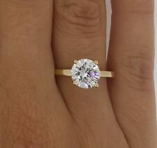 1.5 CT VS1/F ROUND CUT DIAMOND SOLITAIRE ENGAGEMENT RING YELLOW GOLD ENHANCED