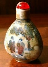 Antique Chinese Hand Painted Blue & White Stoneware Pottery Snuff Bottle Signed