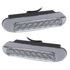 Universal White 8 LED Day Driving Lights for Car (DC 12V)