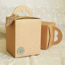 10pcs Brown Paper Box Wedding Party Candy Cake Gift Boxes Heart Shaped Handle