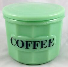 JADITE GREEN GLASS ROUND PANEL PATTERN COFFEE STORAGE BOX JADEITE CANISTER & LID