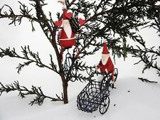 Set of 2 Christmas Tree Decorations - Santa on Trike & Santa on Unicycle
