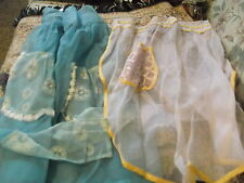 2 Vintage Fancy half Aprons - well crafted sheer fabric lace pockets