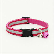 Pet Dog Puppy Cat Kitten Soft Reflective Glossy Collar Safety Buckle with Bell