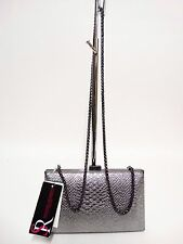 NWT Sondra Roberts Evening Bag Pewter Snake Clutch Box W/Chain Strap