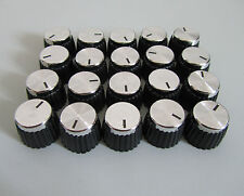 Pack of 20 Guitar Amplifier Knobs Black/Silver Cap Push On Knob fits Marshall
