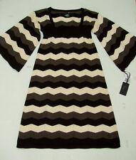 Ezekiel Aspen Sweater Dress S Chevron Empire Waist Cotton Black/Vanilla Mini