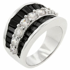 Womens Jet Black and White Tie Dressy Gala Prom Tuxedo Clear Cz Silver Tone Ring