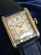 Bulova Fleetwood Art Deco Chrome & Gold Back Fully Serviced FREE US SHIPPING