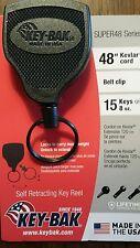 """Key-bak SUPER48 (Model S48K) self retracting key reel 48"""" Kevlar cord, belt clip"""