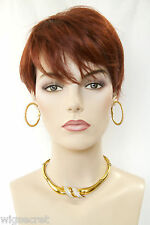 Fox Red (Clear Cool Vivid Red) Grey Short Straight Wigs