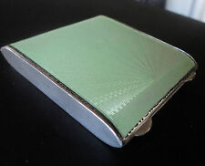 Attractive Sterling Silver & Green Enamel Compact h/m 1937 Henry Clifford Davies