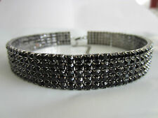 5 Rows BLACK Rhinestone DANCER Stripper Stretch Necklace Choker Blacktone Metal