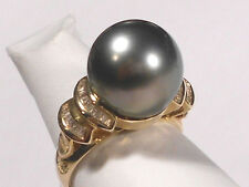 12.4mm Tahitian gray pearl ring, diamonds, solid 14k yellow gold.