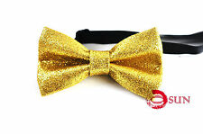 Kids Boy Gold Golden Faux Shining Leather Bow Tie Wedding Party 1-6 Years old