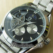 NEW MOON PHASE STEEL CASE 12/24H AUTOMATIC MECHANICAL 5 HANDS MEN'S WATCH WHA11