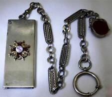 WOW! Imperial Russian silver,gold&enamel coins holder&chain fob for pocket watch
